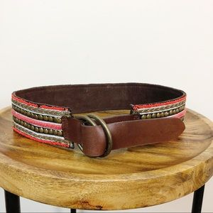 Lucky Brand Beaded Leather Wide Belt
